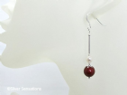 Burgundy Red & Cream Pearls Bridesmaids Earrings With Sterling Silver | Silver Sensations